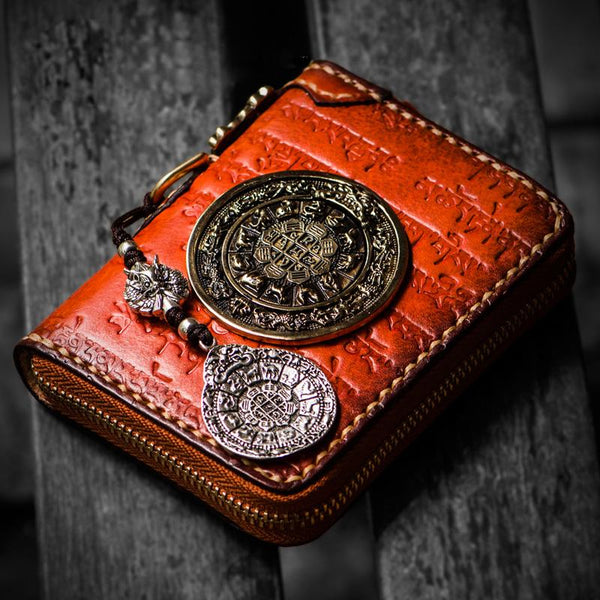 Handmade Leather Tibetan Mens billfold Wallet Cool Chain Wallet Small Biker Wallet for Men