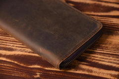 Handmade Leather Mens Cool Long Leather Wallet Zipper Clutch Wallet for Men