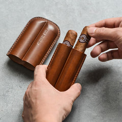Cool Black Leather Mens 2pcs Cigar Case Cool Custom Leather Cigar Case for Men