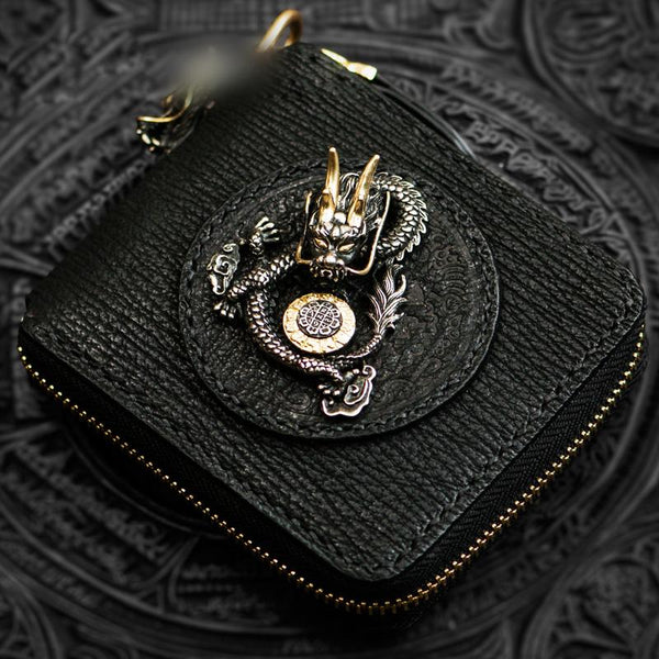 Handmade Leather Chinese Dragon Tooled Mens Short Wallet Cool Chain Wallets Biker Wallet for Men