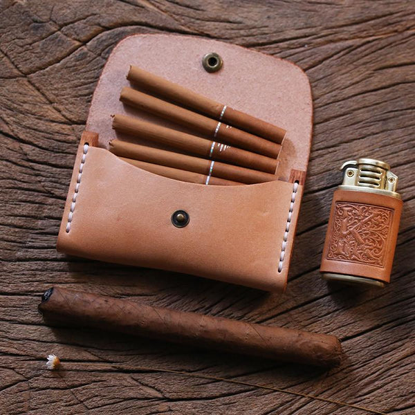 Handmade Wooden Beige Leather Mens 7pcs Cigarette Case Cool Custom Cigarette Holder for Men