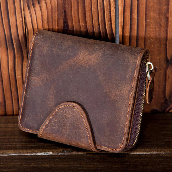 Brown Leather Mens Small Wallet Bifold Short Zipper Bifold Wallet for Men