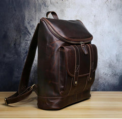 Genuine Leather Mens Cool Backpack Sling Bag Large Black Travel Bag Hiking Bag for men