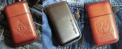 Beige Leather Mens Cigarette Holder Case Vintage Custom Cigarette Case for Men