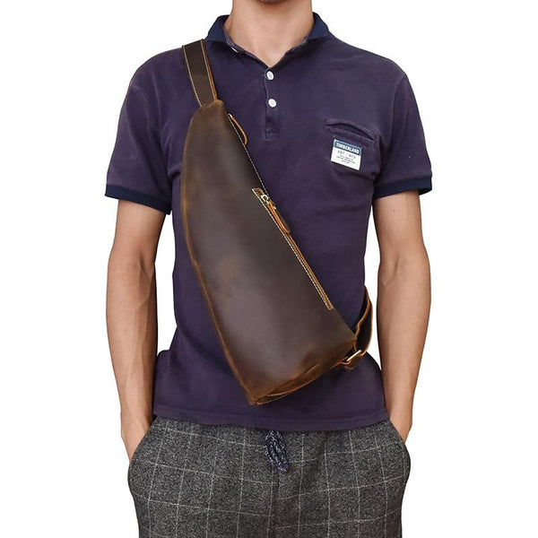 Cool Leather Sling Bag for Men Vintage Chest Crossbody Sling Bag For Men
