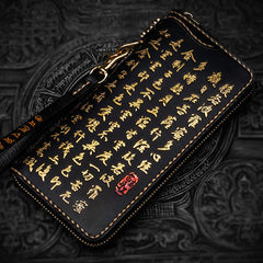 Handmade Leather Mens Chain Chinese Handwriting Biker Wallets Cool Leather Wallet Long Phone Wallets for Men