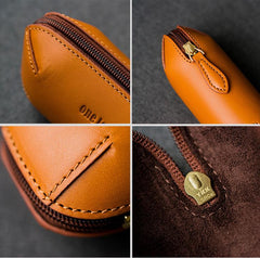 Cool Leather Mens Leather Tobacco Pipe Case Zipper Tobacco Pipe Case for Men