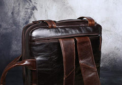 Genuine Leather Mens Cool Messenger Bag Briefcase Backpack Bag Travel Bag for Men