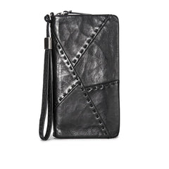 Handmade Mens Cool Long Leather Chain Wallet Biker Trucker Wristlet Wallet