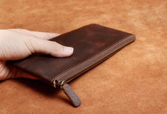 Genuine Leather Mens Cool Long Leather Wallet Slim Zipper Clutch Wristlet Wallet for Men