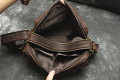 Handmade Leather Mens Cool Small Messenger Bag iPad Bag Chest Bag Bike Bag Cycling Bag for men