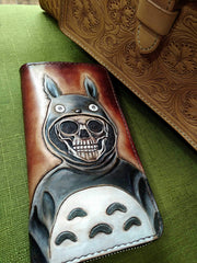 Handmade Leather Skull Totoro Tooled Mens Long Wallet Cool Leather Wallet Clutch Wallet for Men