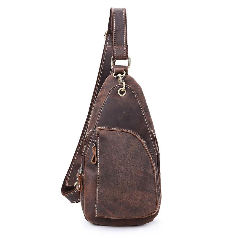 Cool Leather Sling Bag for Men Vintage Chest SLing SHoulder Bag For Men