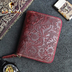Handmade Leather Floral Mens Zipper Cool billfold Wallet Card Holder Small Card Slim Wallets for Men