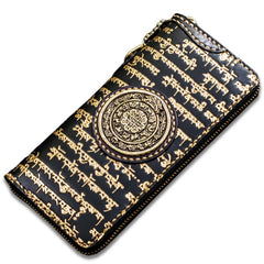 Handmade Leather Tibetan Mens Tooled Biker Chain Wallet Cool Leather Wallet Long Chain Wallets for Men
