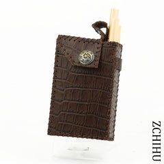 Cool Handmade Coffee Leather Mens Engraved Cigarette Holder Case for Men