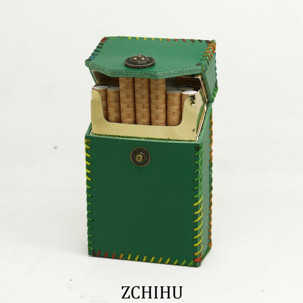 Cool Handmade Leather Womens Green Cigarette Holder Case for Women