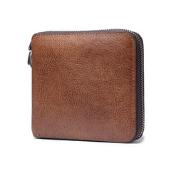 Genuine Leather Mens Cool Zipper Leather Wallet Men Small Wallets Bifold for Men