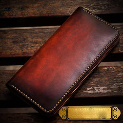 Handmade Leather Mens Cool Long Leather Wallets Zipper Clutch Wallet for Men