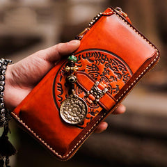 Handmade Leather Mens Tibetan Chain Biker Wallet Cool Leather Wallets Long Clutch Wallets for Men