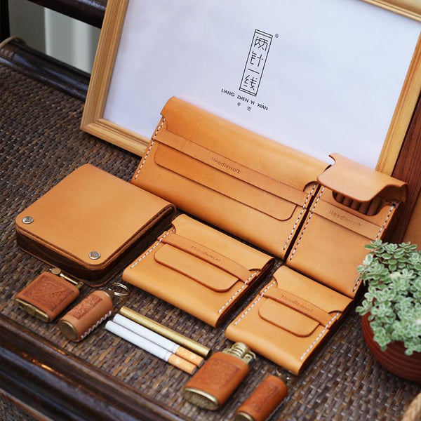 Wooden Beige Leather Mens Cigarette Case Cool Handmade Custom Cigarette Holder for Men