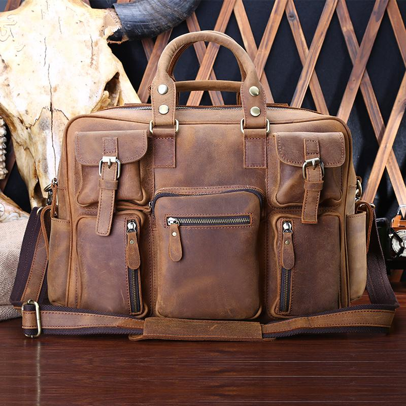 00fe3dbd44d8 Genuine Leather Mens Cool Messenger Bag Work Bag Satchel Bag Briefcase Bag  for men