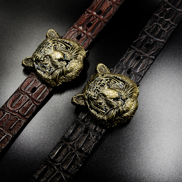 Cool Leather Mens Tiger Western Belt Men Biker Motorcycle Leather Belt
