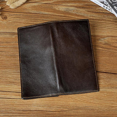 Genuine Leather Mens Bifold Wallet Coffee Long Wallet for Men with Multi Cards