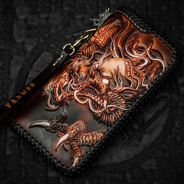 Cool Leather Tooled Chinese Dragon Chain Wallet Mens Biker Wallet Leather Wallet Long Phone Wallets for Men