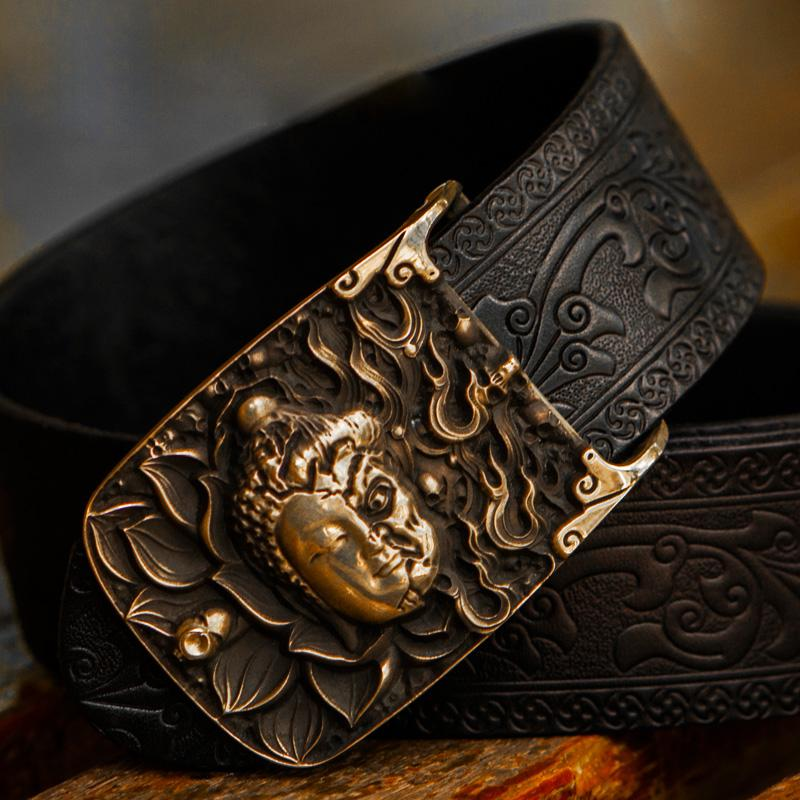 Handmade Cool Black Leather Mens Belt  Cool Leather Men Belt for Men