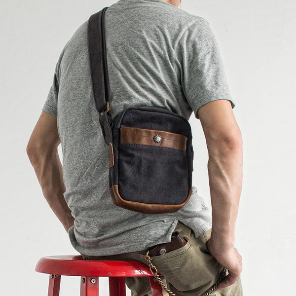 Canvas Leather Mens Cool Messenger Bag Sling Bag Chest Bag Bike Bag Cycling Bag for men