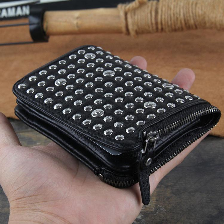 Genuine Leather Mens Cool billfold Punk Rock Leather Wallet Men Small Wallets Bifold for Men