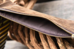 Handmade Leather Mens Cool Long Leather Wallet Card Clutch Wallet for Men