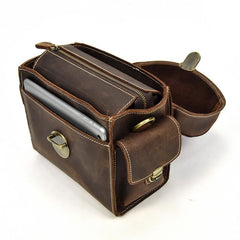 Handmade Leather Mens Cool Small Messenger Bag SLR Camera Case Bag Cycling Bag for men