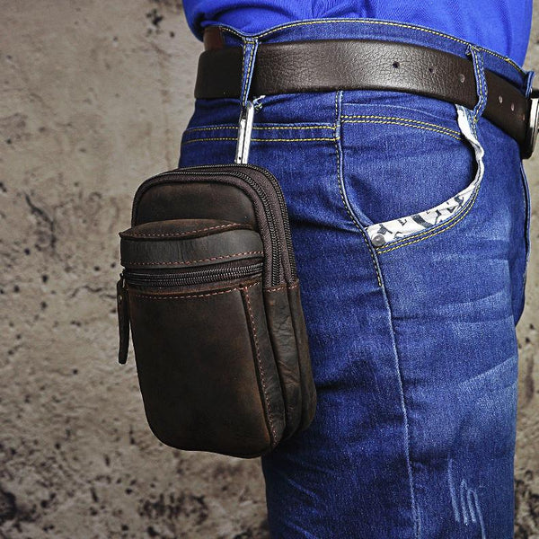 Genuine Leather Mens Small Cigarette Cases Waist Bag Hip Pack Belt Bag Fanny Pack Bumbag for Men