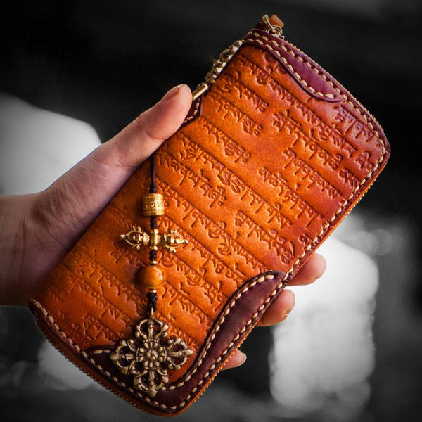 Handmade Leather Mens Tibetan Chain Biker Wallet Cool Leather Wallet Long Clutch Wallets for Men