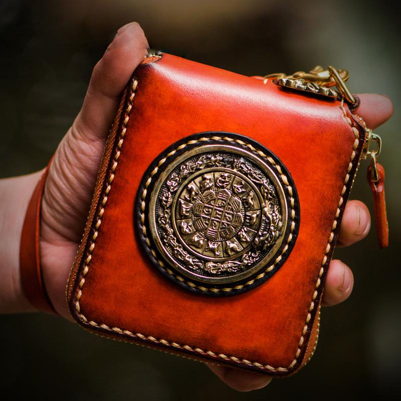 Handmade Leather Small Tibetan Tooled Mens billfold Wallet Chain Wallet Cool Biker Wallet for Men