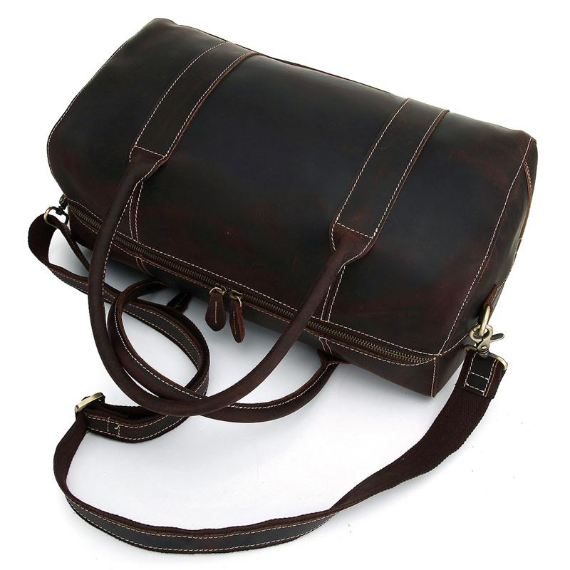 Black Coffee Leather Mens Weekender Bag Duffle Bag Overnight Bag Travel Bag