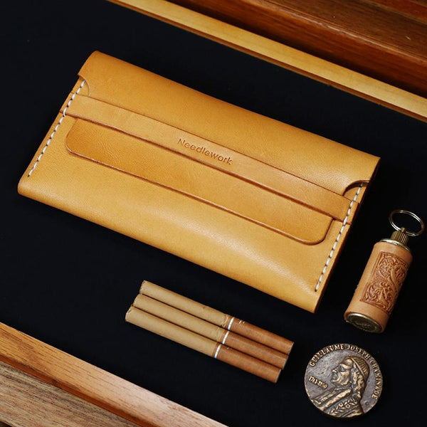 Cool Wooden Slim Leather Mens 20pcs Cigarette Case Custom Beige Cigarette Holder for Men
