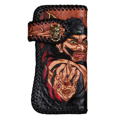 Handmade Mens Cool Tooled Long Zhong Kui demon Leather Chain Wallet Biker Trucker Wallet with Chain