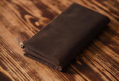 Handmade Leather Mens Cool Long Leather Wallet Cards Clutch Wallet for Men