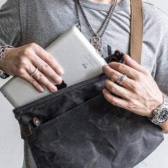 Canvas Mens Cool Small Messenger Bag iPad Bag Chest Bag Bike Bag Cycling Bag for men