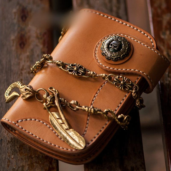 Handmade Leather Mens Small Chain Biker Wallet Cool Leather Wallet With Short Chain Wallets for Men