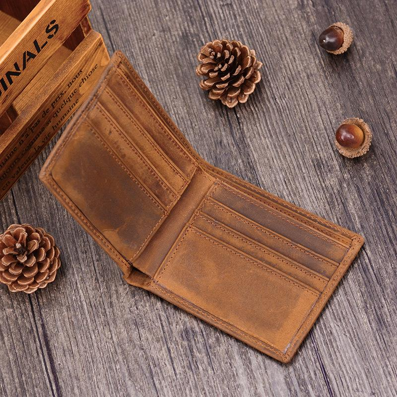 Handmade Leather Mens Cool Slim Leather Wallet Card Wallet Holders Men Small Wallets Bifold for Men