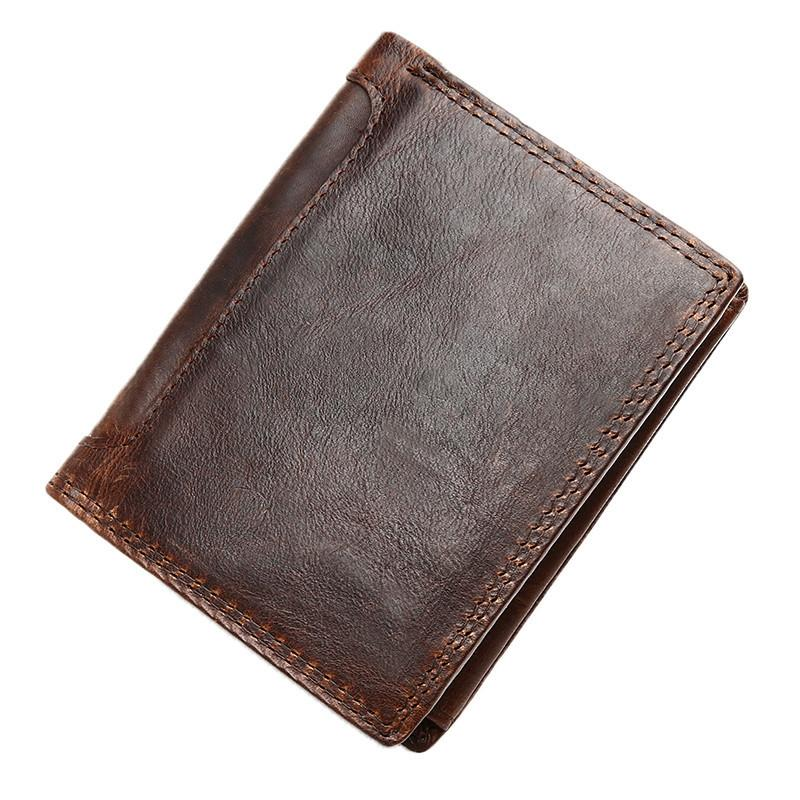 Vintage Brown Mens Leather Small Wallet Trifold Brown Short Wallet for Men