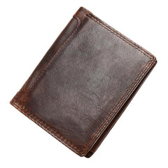 Vintage Brown Mens Leather Small Wallet Trifold Brown billfold Wallet for Men