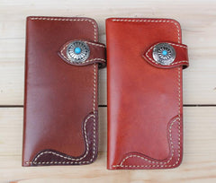 Cool Leather Mens Biker Chain Wallet Cool Handmade Long Biker Wallets with Chain