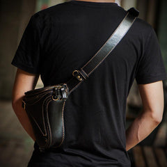 Leather Belt Pouches Mens Small Cases Waist Bag Hip Pack Belt Bag for Men