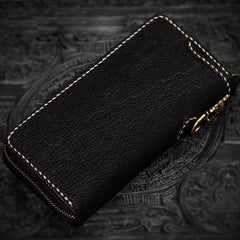 Handmade Leather Tibetan Mens Biker Chain Wallet Cool Leather Wallets Long Chain Wallets for Men