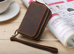 Handmade Leather Mens Cool Key Wallet Car Key Holder Case Slim Card Coin Wallet for Men